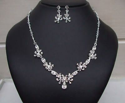 Handmade Diamante Wedding Jewellery Set Teardrop Necklace And Earrings  Jewelry