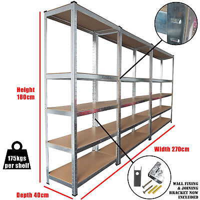 3 Racking Bays 5 Tier Boltless Garage Shelving Unit Storage Rack Heavy Duty