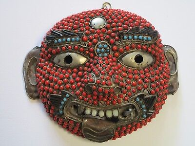 Antique Vintage Beaded Mask Iconic Wall Hanging Sculpture Asian Folk Art Nepal