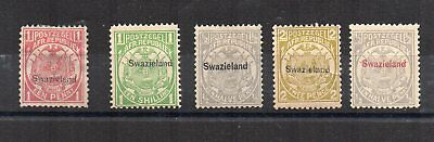 Swaziland 1889-92 Transvaal opt values to 2d MLH/MH