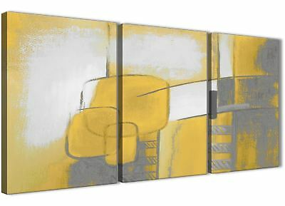 3 Panel Mustard Yellow Grey Painting Bedroom Canvas Art - Abstract 3419 - 126cm