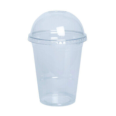 Plastic Clear Cups with Domed Lids for Smoothie / Milkshake / Slush Puppie 350ml