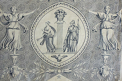 "Antique French blue toile de Jouy  "" Pallas et Venus "" Jean Baptiste Huet"