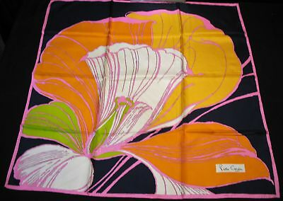 "Vintage Pierre Cardin France 100% Silk Scarf 1970 w/Original Packaging 30"" x 30"""