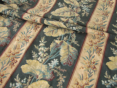 Antique French printed cotton bed curtain / drape  ~ c1890 heavy w/ ring