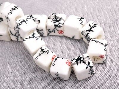 NEW 10pcs 10mm Cube Square Ceramic Spacer Loose Beads Flowers Pattern #17