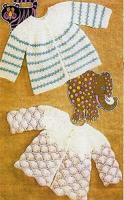 Vintage Crochet Pattern Baby Wear - Two Matinee Coats - 3 & 4 Ply - Laminated