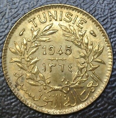 1945 TUNISIA - 1 FRANC - ALUMINUM-BRONZE - Chambers of Commerce Coinage - Nice
