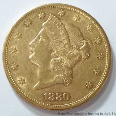1880 S Coronet Double Eagle Gold $20 Twenty Dollar American United States Coin