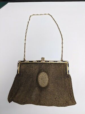 Vintage 14K Yellow Gold Diamond and Sapphire Mesh Purse Hand Bag 256.1 Grams
