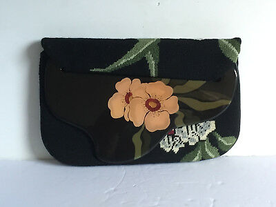 Vintage 1980 PATRICIA SMITH Moon Bags Clutch Purse Embroidered Hand Painted Flap