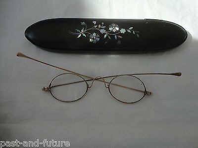 Antique Gold Eyeglasses In Laquered Paper Mache Case With Abalone Inlay.