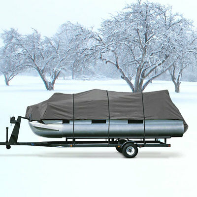 New Gray Heavy Duty 20Ft - 24Ft Trailerable Pontoon Storage Cover Elastic Hem