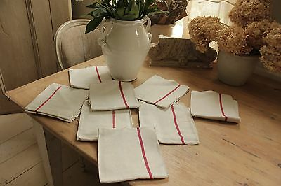 French vintage / antique  linen napkins towels red stripe SET 9 NINE  24X26