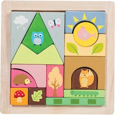 Le Toy Van WOODLAND PUZZLE BLOCKS Wooden Activity Sorting Bricks Baby BN