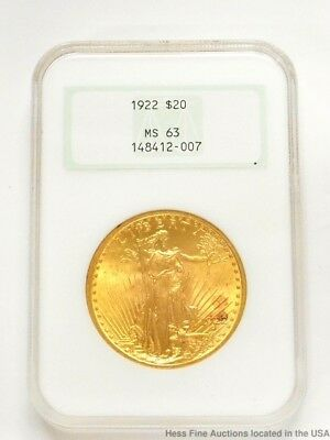 NGC 1922 Double Eagle $20 St Gaudens Twenty Dollar US Gold Coin Currency MS 63