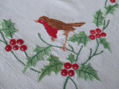 Vintage Christmas Tablecloth-Robins & Holly-Hand Embroidered