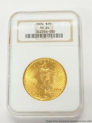 NGC 1924 Double Eagle $20 St Gaudens Twenty Dollar US Gold Coin Currency MS 64