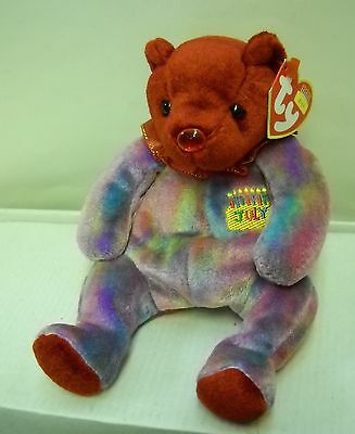 #4348 NWT RETIRED TY 2001 Ruby the Happy Birthday JULY Bear Beanie Baby Plush