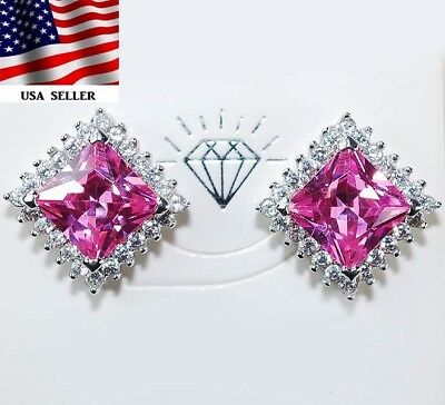 5CT Pink Sapphire & Topaz 925 Solid Genuine Sterling Silver Earrings Jewelry