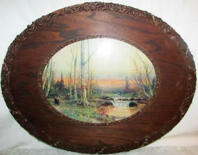 """Antique Oval Carved Wood Frame w/ Romantic Stream Print 19 1/4"""" x 15 1/8"""" Wooden"""