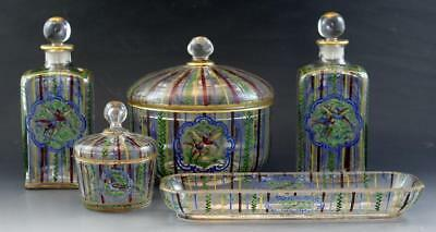 19C 5 Pc French Damon et Delante Paris Hand Painted Glass Perfume Vanity Set