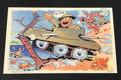 Vintage US Army Tank Cartoon Post Card