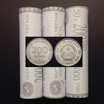 Vietnam one Roll coin, 200 Dong * 50, 2003 , KM#71, Lot 50 PCS coins, UNC