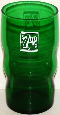 Vintage soda fountain glass 7 UP forest green 7 bubble logo in n-mint+ condition