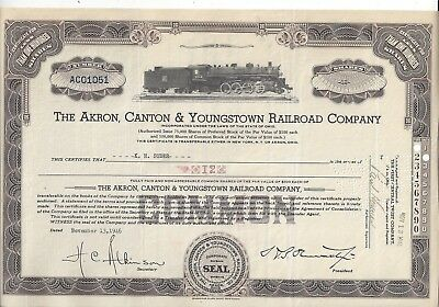 Stk-Akron, Canton & Youngstown RR Brown Common 1946  Vig: 2-8-2 steam engine