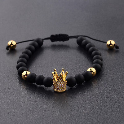 Men's Cubic Zircon 24kt Gold Plated Crown Bracelet Bead Macrame Fashion Bracelet