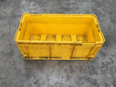 STACKABLE yellow INDUSTRIAL PLASTIC  CRATES TUBS STORAGE 12  PER PALLET