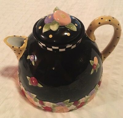 MARY ENGELBREIT Teapot Tea pot, Large Black Floral, Polka Dot, Charpente