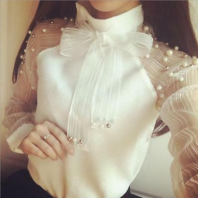 Women Long Sleeve Organza Bow Pearl White Blouse Casual Shirt Sweet Chiffon Tops