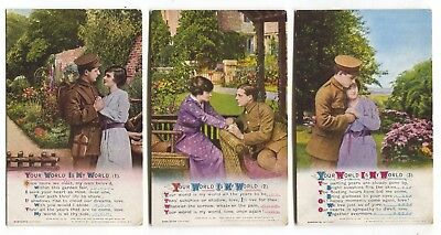 """""""Your World Is My World"""" - 3x Bamforth song postcards - series No. 4942"""