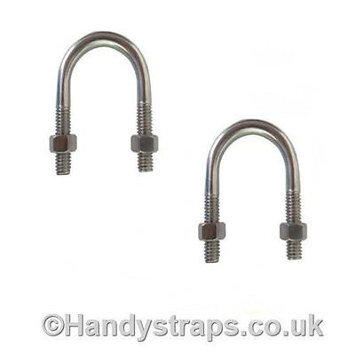 2 x Ubolts Zinc Plated 2 Nuts 6mm x 48mm u bolts for 21mm pipe Pipe Clamp