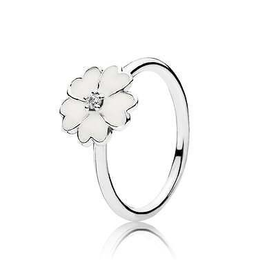 Real 925 sterling silver White Primrose Ring size 52mm#UK- L #