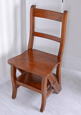 Solid mahogany chair stepchair vintage ladderMetamorphic Office Library Step new