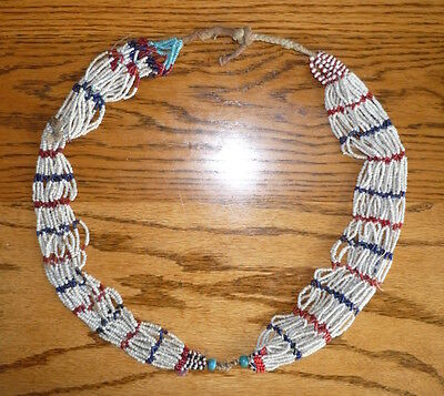 Large Old Original Naga Tribal Beaded Necklace India or Burma