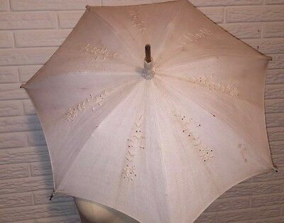 Victorian Edwardian Antique French Parasol Umbrella Wood Handle cloth embroidery