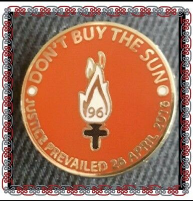 Liverpool Pin Badge - Don't buy the Sun - Justice Prevailed 26th April 2016 -Red