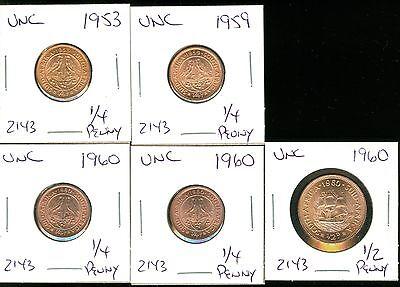 South Africa - 1953 1959 1960 1960 1/4 Penny - 1960 1/2 Penny - Uncirculated