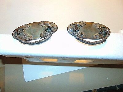 2 Vintage Antique OLD Drawer Drop Bail Pressed Brass Handles 4.5""