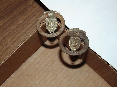 2 Vintage Antique OLD Drawer Drop Ring Brass & Steel ornate pulls