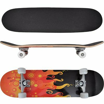 #Skateboard Ovale Planche à roulettes Skate-board 9 Couches Erable  Flammes 8''