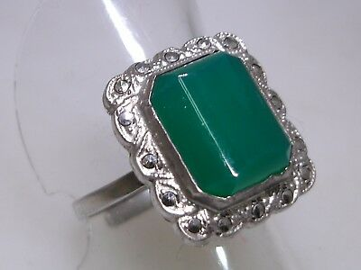 Vintage Art Deco Sterling Silver Chrysoprase & Marcasite Adjustable Ring!