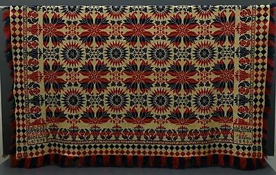 Antique Woven Coverlet S.B. Musselman 1853 No. 878 Red Blue Hilltown Bucks Co PA