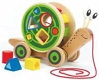 Hape WALK-A-LONG SNAIL Traditional Shape Sorter Wooden Toy/Gift Baby/Toddler BN