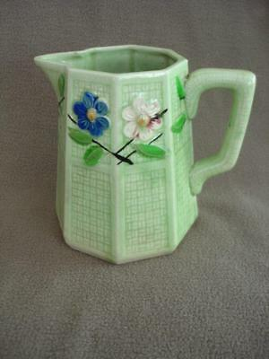 "Antique 5.5"" Pitcher Green Weave Floral Octagon shape Early 1900s Vtg Made Japan"