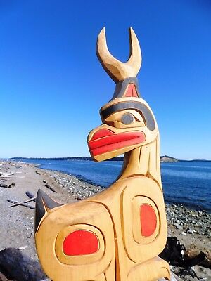 Northwest Coast First Nations Native wooden Art carving: Deer - rare, signed